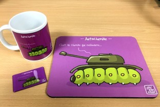 "Mouse pad ""It's the caterpillar that restarts"""