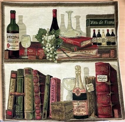 Kissenbezug 45X45cm Bücher und Weine 2