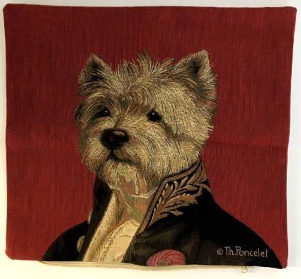 Kissenbezug 35X35cm Hund roter Hintergrund