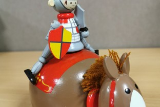WOODEN money box knight