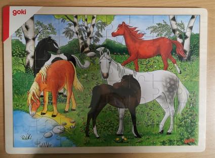 GOKI Wood Puzzle Pony Farm